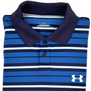 Under Armour Golf Shirt Size Large Striped Polo Sz